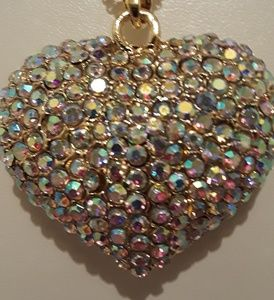Betsey Johnson puffy heart necklace, new